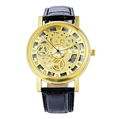 MJARTORIA-Herren-Vergoldet-Schwarz-Armbanduhr-Quarz-Uhr-Analog