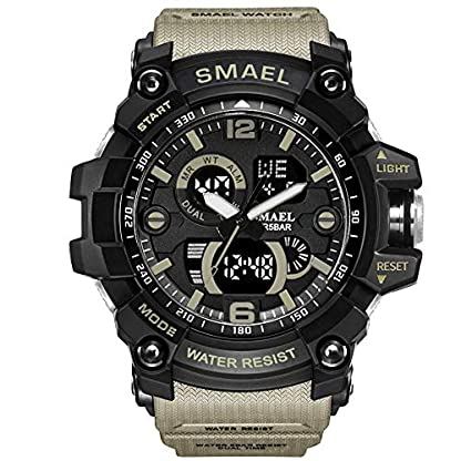 Military-Watch-Big-Face-Sportuhr-Armee-Art-Multifunktions-Armbanduhr-fr-die-Jugend-Umfang-14CM-22CM