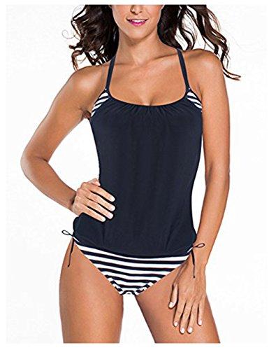 FeelinGirl Tankini Retro Bikini Set Sportliche Swimwear Bademode Monokini Badeanzug Damen Bauchweg