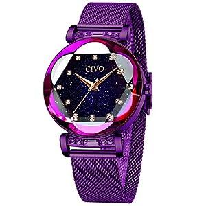 CIVO-Uhren-Damen-Lila-Armbanduhr-fr-Frauen-Damen-wasserdichte-Edelstahl-Mesh-Elegantes-Kleid-Analog-Uhren-mit-Sternenhimmel-Zifferblatt
