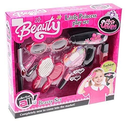 Premium-Beauty-Salon-fr-Kinder-Hochwertiger-Frisierkoffer-Schminkkoffer-Friseur-Spiel-Make-Up-Koffer-mit-viel-Zubehr-Haarbrste-Kinderbrste-pink-Kamm-Lockenstab-Fn-Haarschmuck-Sonnenbrille