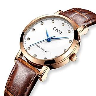 CIVO-Damen-Uhren-Wasserdicht-Braunes-Echtlederband-Damenuhr-Analoge-Quarz-Armbanduhr-fr-Frauen-Mode-Geschft-Beilufig-Armbanduhr-mit-weiem-Zifferblatt