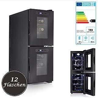 Design-Weinkhlschrank-fr-12-Flaschen-2-verschieden-einstellbare-Temperatur-Zonen-thermoelektrisches-Khlsystem-khlt-auf-bis-zu-18C-unter-Umgebungstemperatur-Energieeffizienzklasse-C