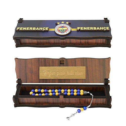 Gök-Türk Box Schatulle MIT GRAVUR aus Holz Handgemacht & 925 Sterling Silber Tesbih Gebetskette 'Fenerbahce' für Fußballfans