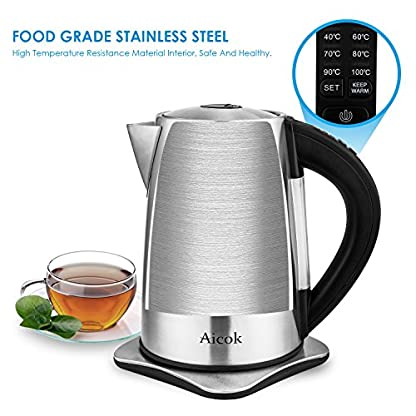 Aicok-Wasserkocher-Edelstahl-Wasserkocher-Temperatureinstellung-mit-Warmhaltefunktion-BPA-Frei-Kessel-2200-Watt-17-Liter-SilberSchwarz
