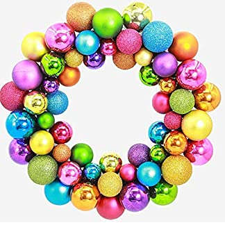 kingko-35cm-Druchmesser-Weihnachtskranz-Kunststoff-aus-Weihnachtskugeln-Kranz-Rot-und-Gold-Christbaumkugeln-Weihnachtsdeko-Trkranz-Deko-Kranz-Weihnachten-Winter
