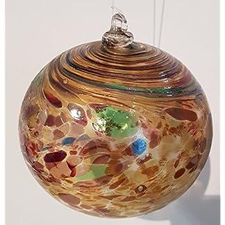Kugel-zum-hngen-bunte-Glaskugel-braun-bunt-gelstert-mundgeblasenes-Kristallglas-Fensterdekoration-Durchmesser-ca-13-cm-Oberstdorfer-Glashtte