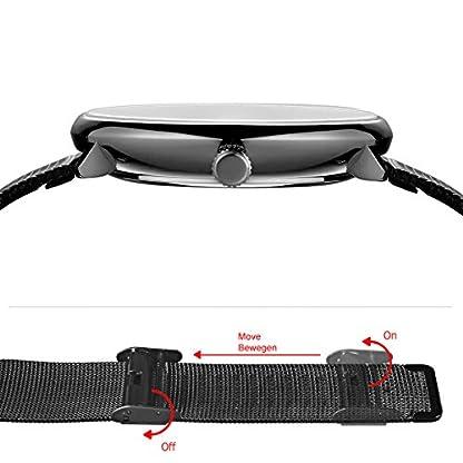 Alienwork-Unisex-Edelstahl-Armbanduhr-Damen-und-Herren-analog-I-Milanaise-Armband-Metallarmband-SchwarzBlau-I-Uhr–40mm-I-Herrenuhr-Damenuhr-I-Schlicht-elegant-und-sportlich