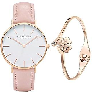 XLORDX-Classic-Damen-Armbanduhr-Analog-Quarz-Rosa-Leder-Armband-Wei-Zifferblatt-mit-Elegant-Rosegold-Armband