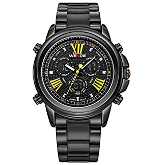 Alienwork-DualTime-Armbanduhr-Herren-Uhr-Edelstahl-Armband-Metallarmband-Metallband-schwarz-Herrenuhr-Analog-Digital-Kalender-Datum-Monat-Wasserdicht-Chronograph-Multi-funktion-XXL-Oversized
