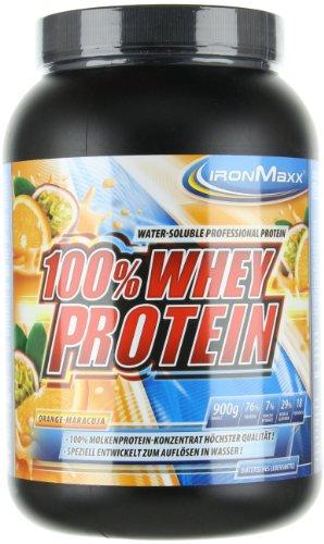 IronMaxx 100% Whey Protein Pulver / Proteinreiches Eiweißpulver / Wasserlösliches Proteinpulver mit Orange-Maracuja Geschmack / 1 x 900 g Dose