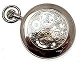 Silber-Farbige-massivem-Messing-Mechanische-Skelett-Taschenuhr-mit-Sonne-und-Mond-und-Dual-Time-Zone-Eigenschaften