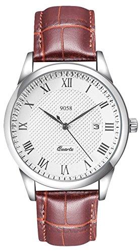 Herren-Analoge-Quartz-Uhren-mit-Braun-Lederband–Wasserdichte-stylische-Armbanduhr-mit-Datum-Kalender-Mnner-klassische-Mode-Casual-Business-Groe-Anzeige-Uhren-fr-Herren-von-VDSOW