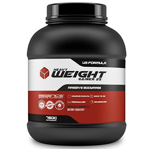 Heavy Weight Gainer 25, Kohlenhydrat- und Eiweiß Supplement (75% Carbo : 25% Protein) für Hard-, Soft- und Easygainer, by BBGenics Sports Nutrition – 750g Schoko