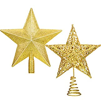 Gejoy-2-Stck-Star-Tree-Topper-Glitter-Weihnachtsbaum-Topper-Star-Treetop-fr-Christbaumschmuck-Home-Festival-Ornament