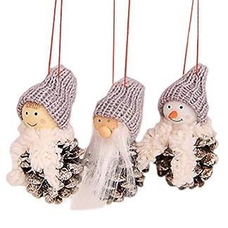 YeahiBaby-3pcs-Weihnachtsbaum-Deko-Anhnger-Weihnachten-Plschtier-Weihnachtsmann-Schneemann-Wichtel-Figuren-Christbaumschmuck-Baumbehang-Weihnachtsdeko-Grau