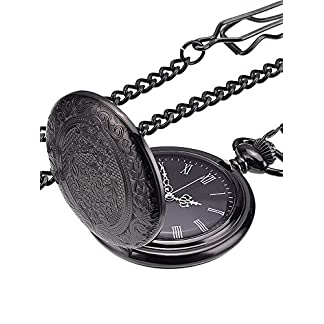 Klassische-Schwarze-Taschenuhr-fr-Herren-Uhr-mit-Kette-und-Silberzeiger