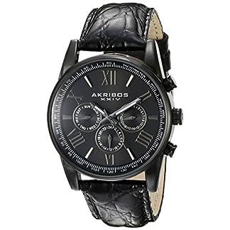 Akribos-XXIV-Herren-ak864bk-Multifunktions-Schwarz-Lederband-Armbanduhr
