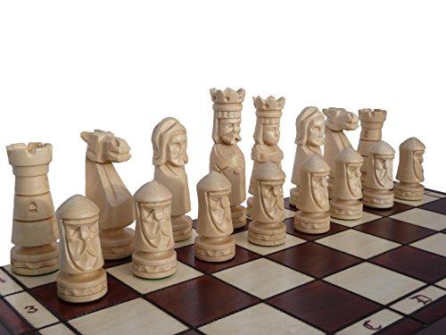 Erstaunlich-Schloss-DELUXE-50cm25-kg-Extra-groe-handgeschnitzte-Holz-Schachspiel-gewichtet