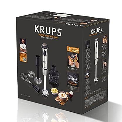 Krups-HZ4071-Stabmixer-Perfect-Mix-Pro-9000-inkl-Mixbecher-Mini-Zerkleinerer-Schneebesen-Kartoffelstampfer-4-Messer-20-Geschwindigkeitsstufen-Turbostufe-1000-W-grauedelstahl-gebrstet