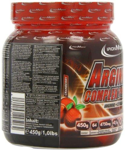 IronMaxx Arginine Complex Powder / Hohe Konzentration von L-Arginin und L-Citrullin Aminosäuren / Muskelaufbau, Kraftaufbau, Ausdauertraining / Trainingsboost / Cranberry Flavour / Pulver / 1er Pack