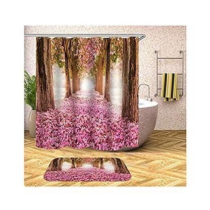 AieniD-Duschvorhang-Uni-Baum-Blumen-Bunt-Badevorhang