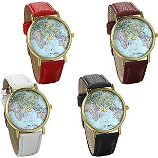 JewelryWe-4pcs-Damen-Armbanduhr-Retro-Weltkarte-Globus-Karte-World-Map-Leder-Band-Analog-Quarz-Uhr-Bloggeruhr-Geschenk-Schwarz-Braun-Weiss-Rot