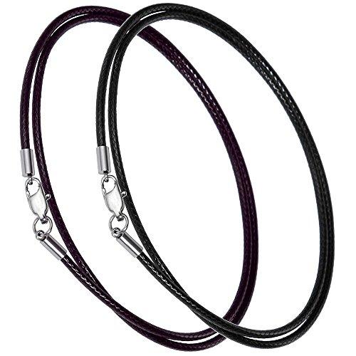 Lictin Lederkette Halskette Kunstleder Lederband Kette Karabiner Edelstahl Kette für Anhänger