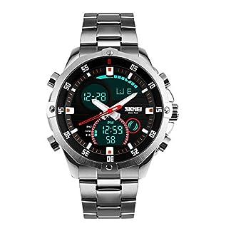 KAUO-Herren-Luxus-Mode-Edelstahl-beilufige-Wasserdichte-Chronograph-Quarz-Armbanduhr