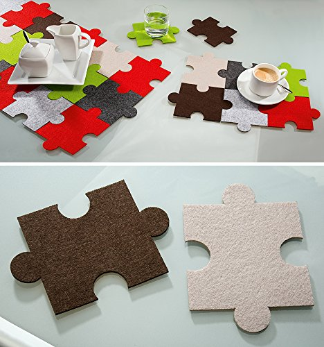 Filz Untersetzer Puzzle, 6er Set 3xbraun 3xbeige, waschbar, Filzuntersetzer, Gilde Handwerk