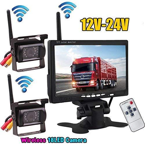 2-x-Wireless-18LEDs-IR-Nacht-Vision-Wasserdicht-Backup-Kamera-24-G-Wireless-178-cm-Farbe-TFT-LCD-Monitor-fr-Wohnmobil-Bus-Truck-Trailer-12-V-24-V