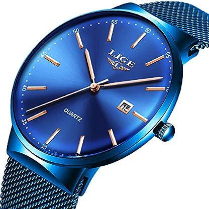 LIGE-Herren-Uhren-Ultradnner-Einfach-Analoge-Quarzuhr-Mode-Blau-Edelstahl-Datum-Uhren-Sport-Wasserdicht-Mesh-Uhr