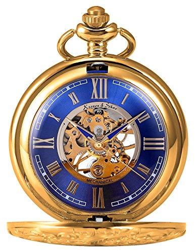 KS-Taschenuhr-mit-Kette-Herren-Blau-Gold-Mechanisch-Skelett-Analog-Vintage-Geschenkbox-KSP073