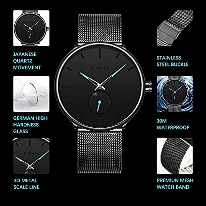CIVO-Herren-Schwarz-Ultradnne-Uhr-Minimalist-Mode-Luxus-Armbanduhren-fr-Mnner-Geschft-Kleid-Lssig-Wasserdicht-Quarzuhr-fr-Mann-mit-Edelstahl-Mesh-Band