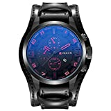 Herren-Uhr-ZEIGER-Quarz-Armbanduhr-Analog-Leder-Schwarz-Herrenuhr-mit-Datum-Funktion-Uhren-W445