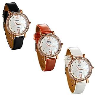 JewelryWe-Damen-Armbanduhr-Elegant-Charm-Ultra-dnn-Analog-Quarz-Uhr-mit-Leder-Armband-Muscheln-Inlay-Zifferblatt-und-Strass-Lnette-Farbe-Schwarz-Wei-Orange