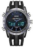 BINZI-Casual-Herren-Uhr-Wasserdichte-Sportuhren-Digitaluhr-Luxus-LED-Licht-Dual-Display-Armbanduhr-Stoppuhr-Wecker-Woche-mit-schwarzem-Silikon-Band