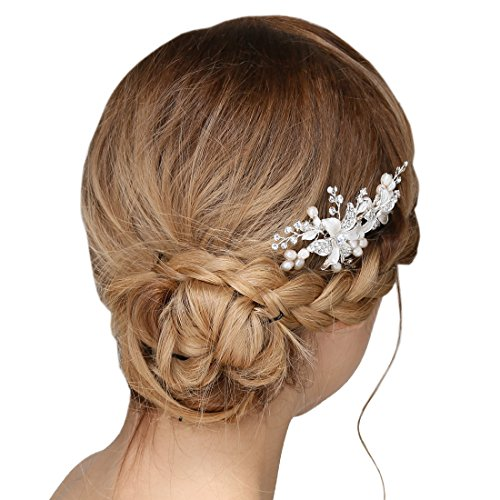 Damen Kristall Strass Perlen Haarekämmen Blume Haarschmuck Hochzeit