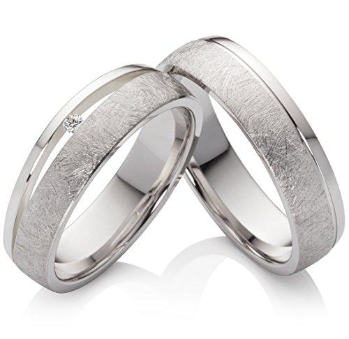 Eheringe Verlobungsringe Trauringe aus 925 Silber mit einem Diamant und kostenloser Gravur SPB43