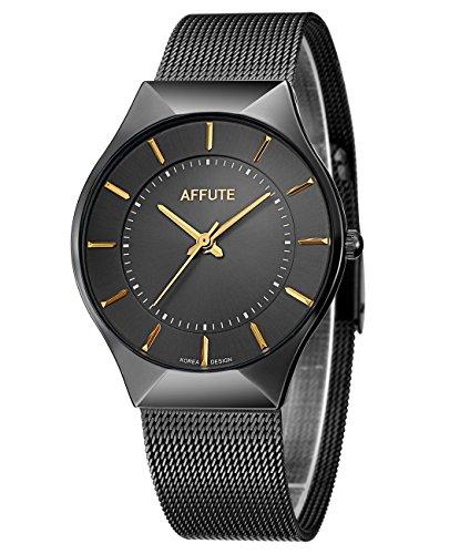 affute-Ultra-Dnn-Analog-Quarz-Herren-Armbanduhr-Edelstahl-Mesh-Strap-Kleid-Uhr-Schwarz