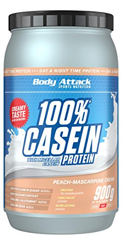 Body Attack 100% Casein Protein, Peach Mascarpone, 900 g