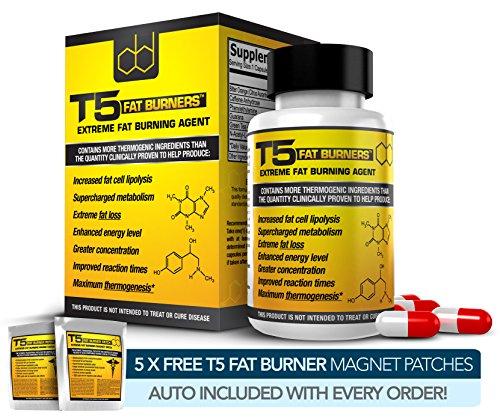 T5 Fatburner Kapseln – Strongest Legal & Diäten Weight Loss Pills (1 Monatspackung) + 5 FREE T5 FAT BURNER PATCHES