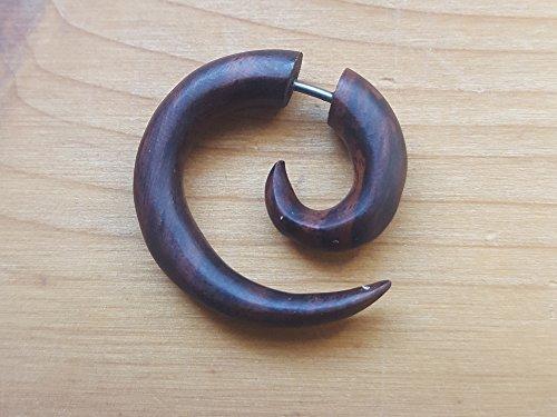 Chic-Net Tribal kleine Spirale Ohrring aus Sono Holz braun fake Piercing Ohrhänger Ohrstecker Ohrringe | unisex Ohrschmuck Männer Frauen Herren Damen