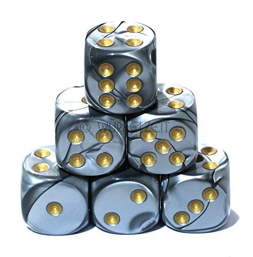 Wrfelzeit-7452-Wrfel-w6-16-mm-Silkki-silbergrau-mgold-12er-Set-in-Klarsichtbox