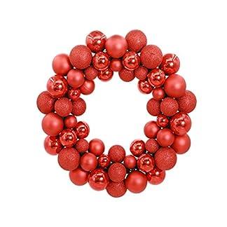 Kugelkranz-LUOEM-Weihnachtskranz-mit-Kugeln-Weihnachtskugel-Weihnachten-Tr-Anhnger-Trdeko-Rot