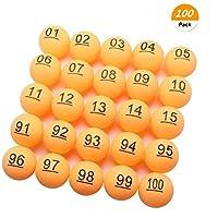 SelfTek-100-Stck-nummerierte-Bier-Pong-Blle-40mm-Raffle-Balls-Nummer-1-100