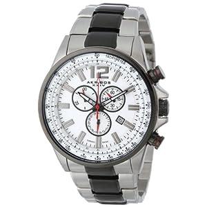 Akribos-XXIV-Herren-Conqueror-Schweizer-Chronograph-Wei-Zifferblatt-bicolor-Edelstahl-Armband-Armbanduhr