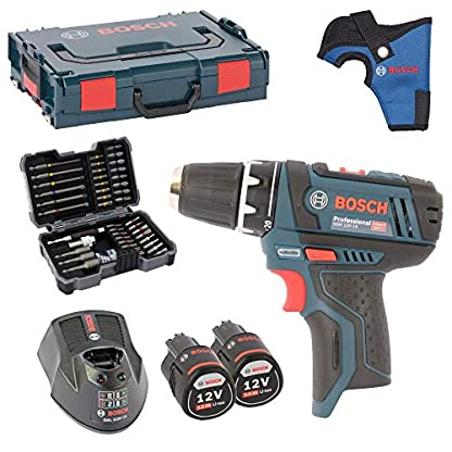 Bosch-Akku-Bohrschrauber-GSR-108-2-Li-inkl-Bohrfutter-und-2-Akkus-20AH-und-Ladegert-AL1130CV-in-L-BOXX-Gr-1-MIT-HOLSTER-Bosch-Bitsortiment-43-tlg-inkl-SW-6810