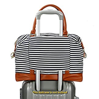 BAOSHA-HB-28-Damen-Canvas-Streifenmuster-Carry-on-Reisetasche-Frauen-Weekender-Segeltuch-Reise-Duffel-Tragetasche-Wochenende-ber-Nacht-Schultertaschen-Handgepck-Mit-PU-Lederriemen