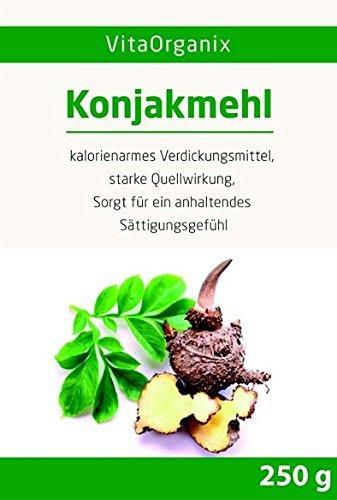 Konjakmehl Konjakwurzel getrocknet zum Abnehmen, 250g gemahlene Teufelszunge, KLUMPENFREI anrühren!, hohe Quellfähigkeit – Glutenfreier Appetitzügler – Vegan